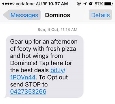Dominos mobile engagement sms text message2