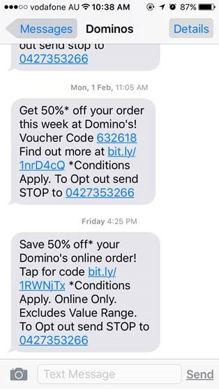 Dominos mobile engagement sms text message3