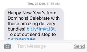 Dominos mobile engagement sms text message4