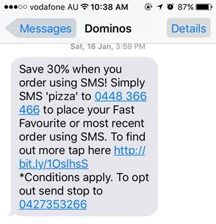 Dominos mobile engagement sms text message5