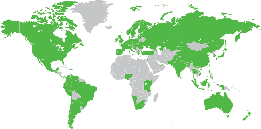 OpenMarket's two-way global SMS coverage map