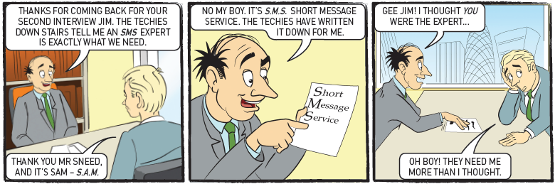 SMS Cartoon 3 Second Interview Enterprise communications