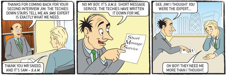 SMS Cartoon 3 Second Interview Enterprise communications