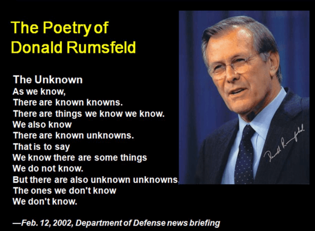 "Donald Rumsfeld on ""unknown unknowns"""