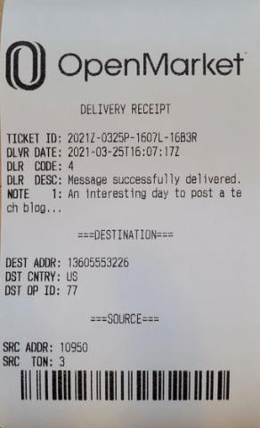A printed OpenMarket receipt